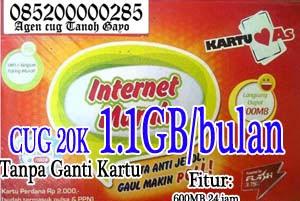 Cara Daftar CUG Telkomsel Data 1.1GB  20 Ribu Perbulan