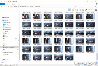 Cramer Imaging's screenshot of a series of photos opened Windows Explorer ready for the selection process and culling