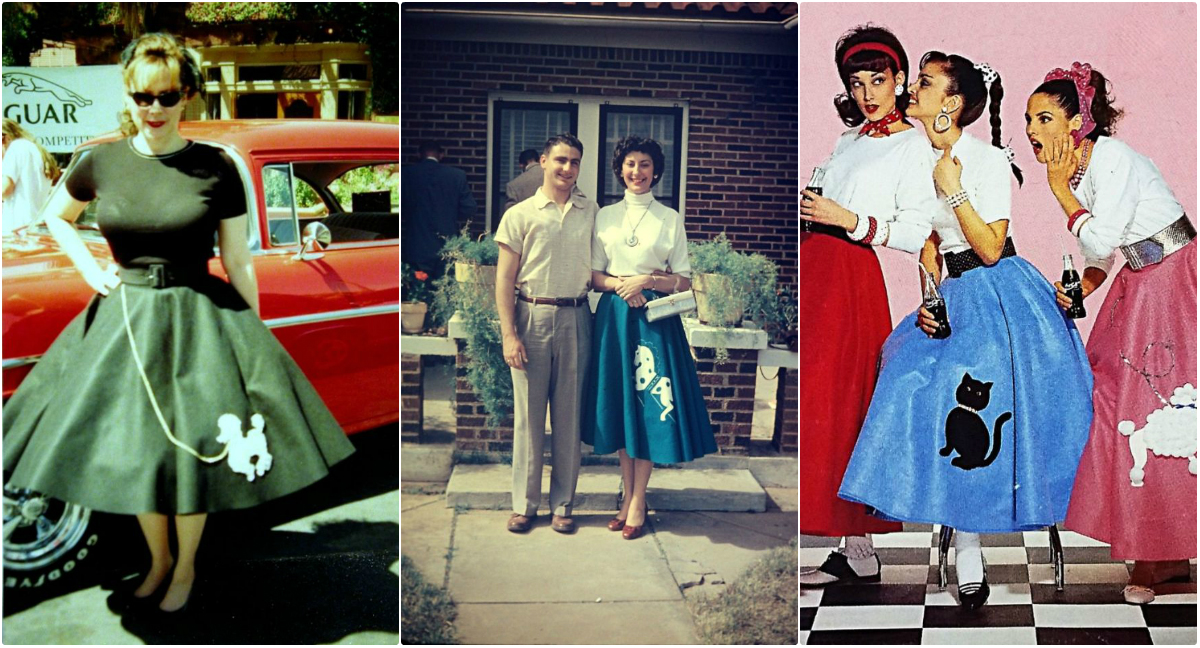 5bc93dec0754 The skirt originated in 1947 in the United States, and has been popular  since the '50s. They were a brief trend that has made an iconic '50s costume  ever ...