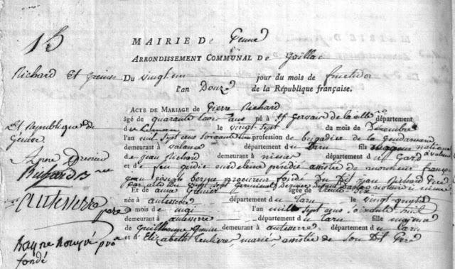 Acte de mariage de Pierre RICHARD et Anne GRENIER