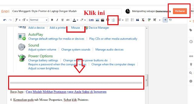 Klik Break Jump pada pertengahan artikel atau setelah 150 kata tepatnya di bawah gambar. Jika sudah Sobat tinggal klik Perbarui.