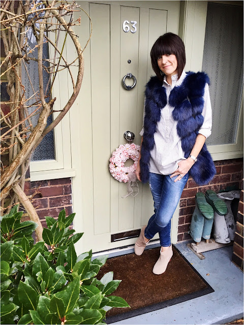 My Midlife Fashion, Zara skinny jeans, hudson Kiver ankle boots, faux fur gilet, stripes, H and m ruffled striped blouse