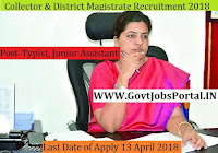 Telangana Collector & District Magistrate Recruitment 2018– Typist, Junior Assistant