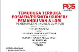 Temuduga Terbuka untuk Pos Malaysia Berhad.