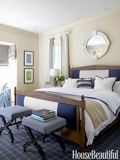 amazing beige, white and blue bedroom