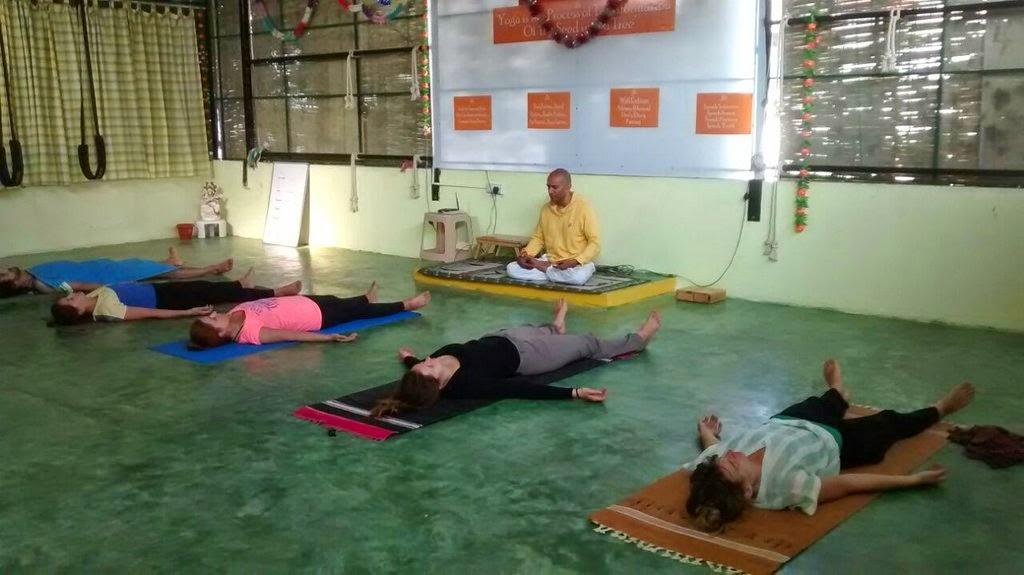 Students learning Yoga Nidra - Divine Sleep at Inteyoga Mysore India