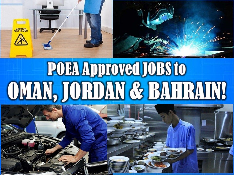 Looking for jobs abroad? Here are three more countries in the Middle East that are hiring Filipino workers. The Philippines Overseas Employment Administration has released hundreds of job orders to Bahrain, Oman, and Jordan this March 2018 through POEA's job employment site.  Please reminded that jbsolis.com is not a recruitment agency, all information in this article is taken from POEA job posting sites and being sort out for much easier use.   The contact information of recruitment agencies is also listed. Just click your desired jobs to view the recruiter's info where you can ask a further question and send your application letter. Any transaction entered with the following recruitment agencies is at applicants risk and account.