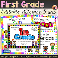 First Grade welome signs editable