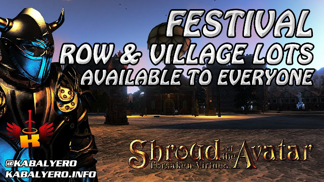 Festival Player Owned Town, Row & Village Lots Available 🏠 Shroud Of The Avatar (Town Check)