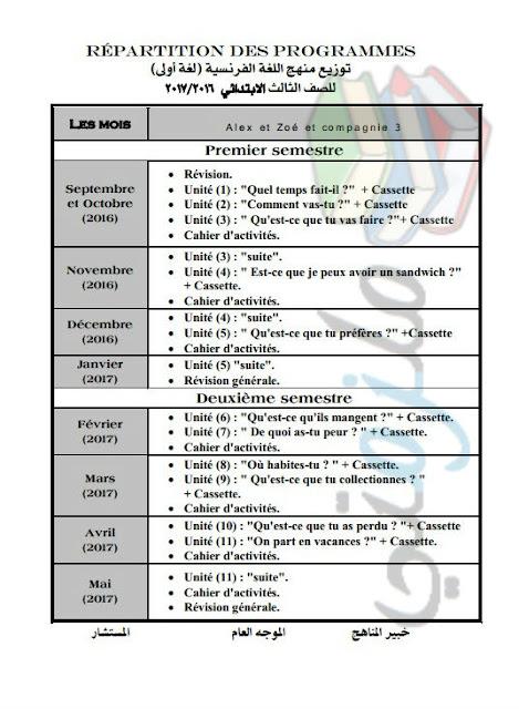 توزيع منهج اللغة الفرنسية للصف الثالث الإبتدائي 2017