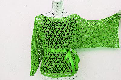 Blusa verde Majovel Crochet ganchillo