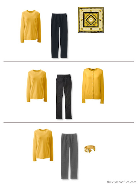 3 outfits in with the 5-piece French capsule wardrobe with yellow
