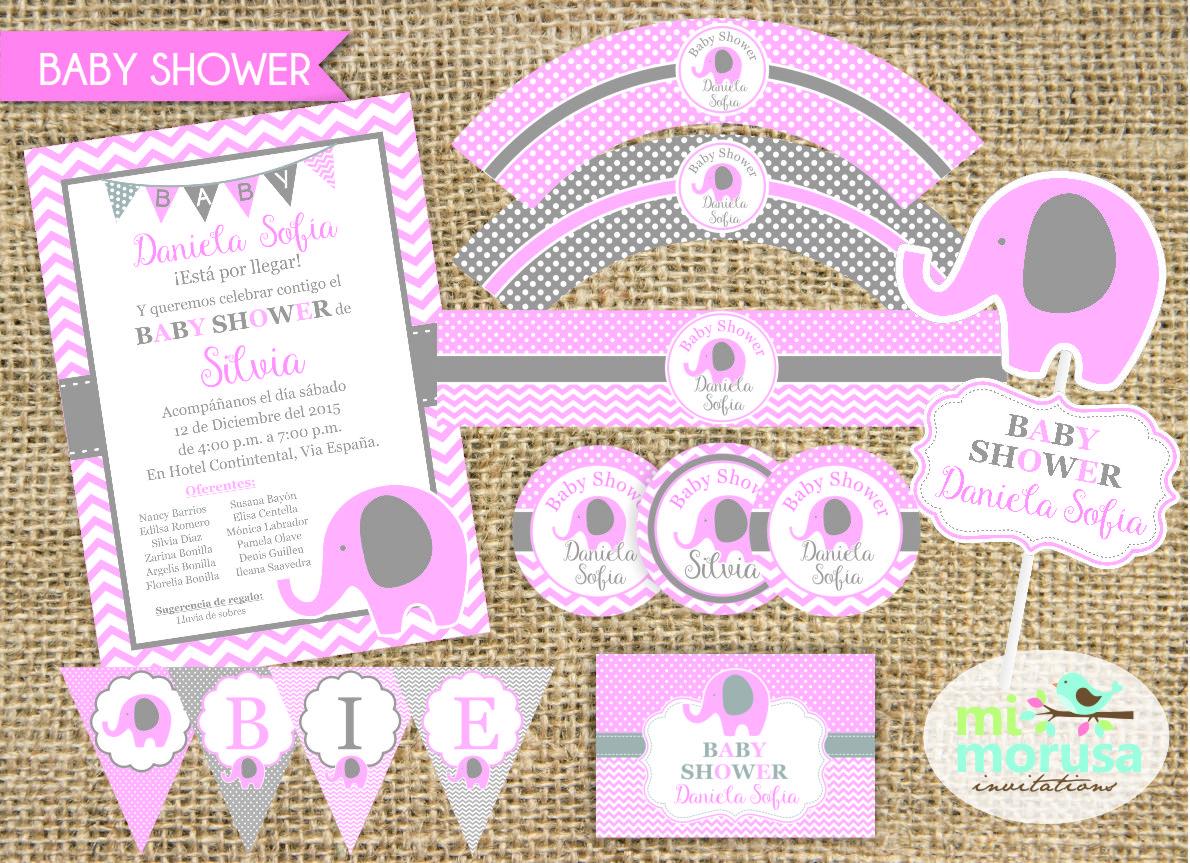 mi morusa arte digital kit imprimible baby shower elefantita rosa. Black Bedroom Furniture Sets. Home Design Ideas