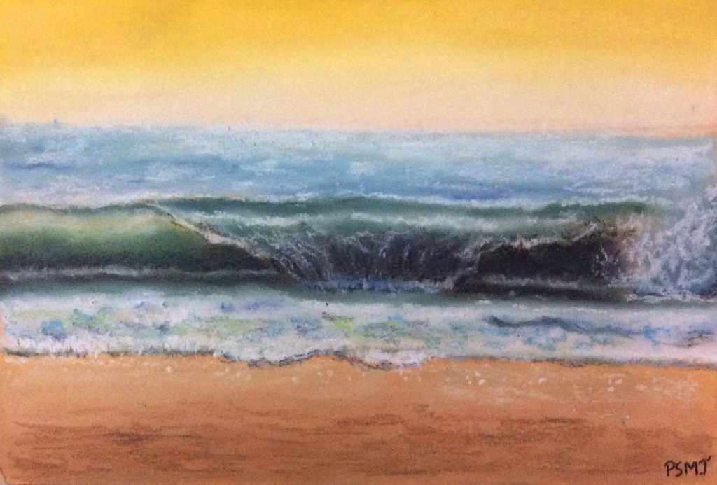 soft pastel painting of seashore by Prerna Jain during Soft Pastel Workshop by Manju Panchal