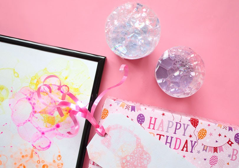 bubble art prints gift tags