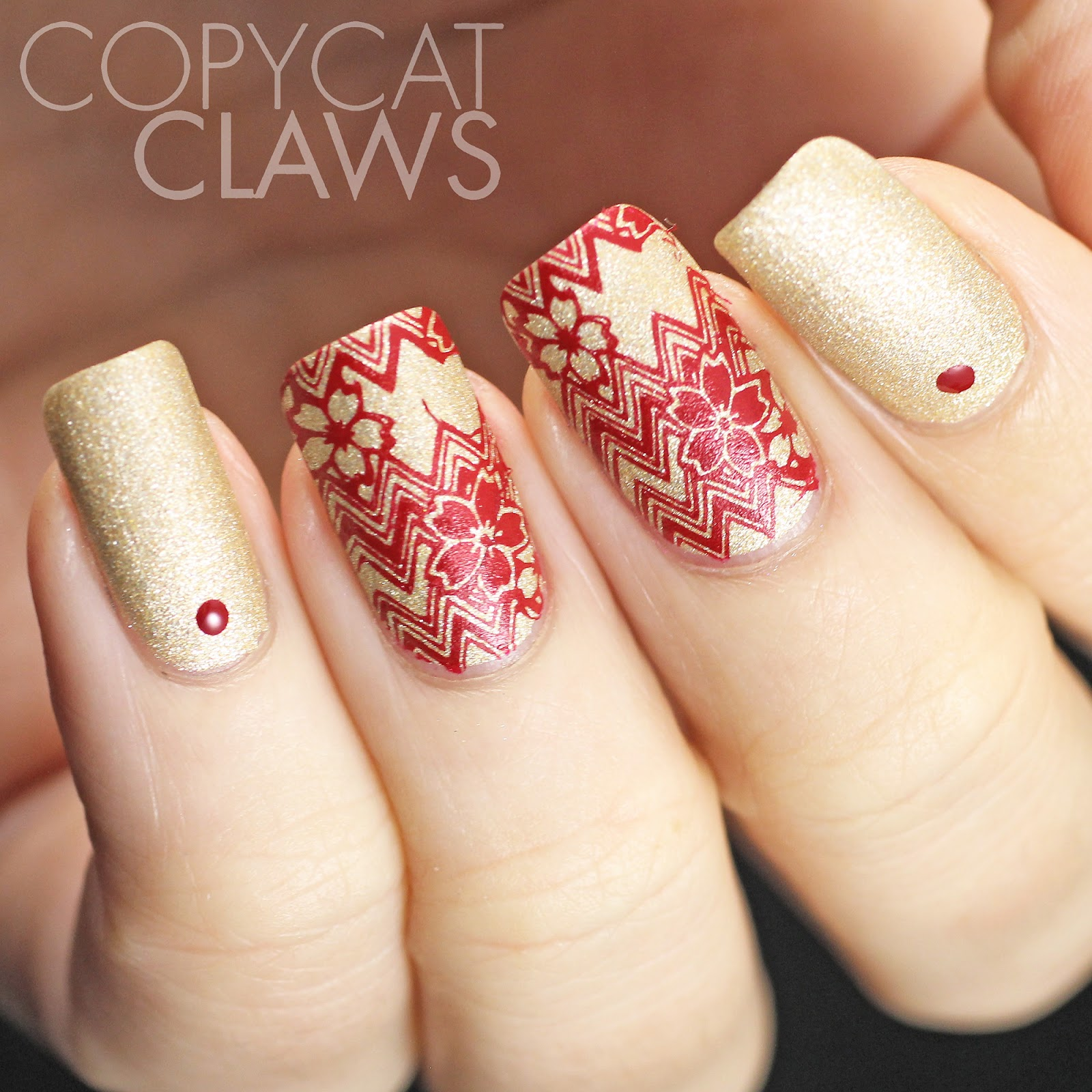 Copycat Claws: Red and Gold Chevron Nail Stamping