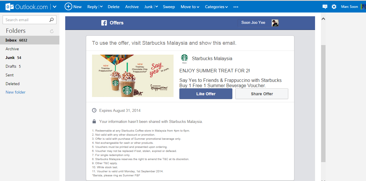 Starbucks Malaysia Offering Buy 1 Free 1 Tiramisu Frappuccino or Tiramisu Chocolate Chip Frappuccino from 20 August 2014 until 1st September 2014.