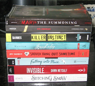 Mary: The Summoning by Hillary Monahan, Evil Librarian by Michelle Knudsen, Killer Instinct by Jennifer Lynn Barnes, Jackaby by William Ritter, We Should Hang Out Sometime by Josh Sundquist, Falling Into Place by Amy Zhang, Invisible by Dawn Metcalf, Stitching Snow by R.C. Lewis