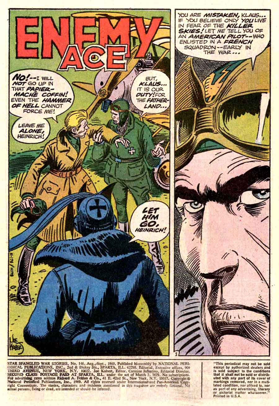 Star Spangled War v1 #146 enemy ace dc comic book page art by Joe Kubert