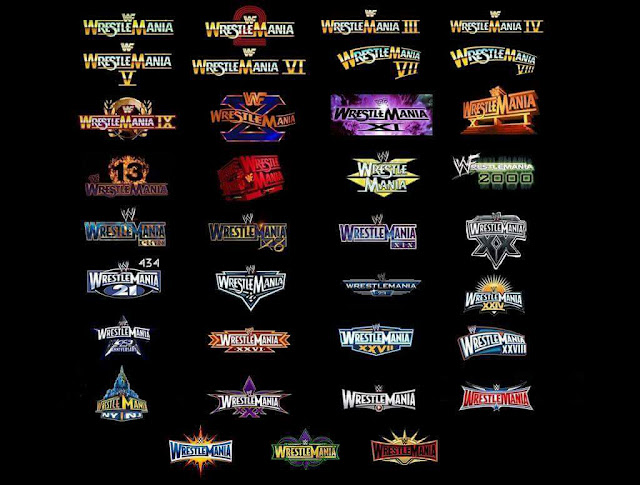 All WrestleMania logos over the years. StrengthFighter.com