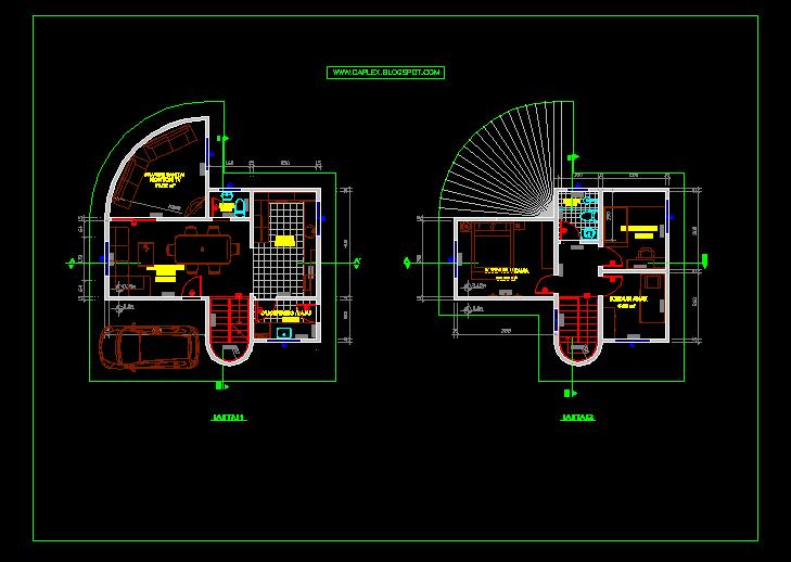 Desain Rumah Minimalis 2 Lantai Autocad  Gambar Foto