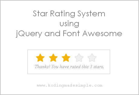 star rating system jquery css font awesome
