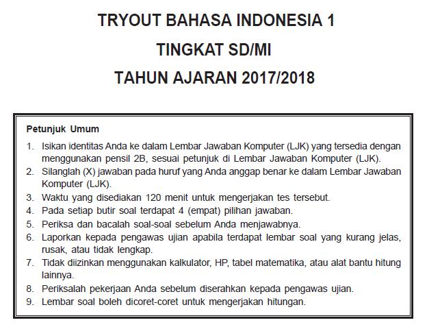 Bocoran USBN Bahasa Indonesia SD