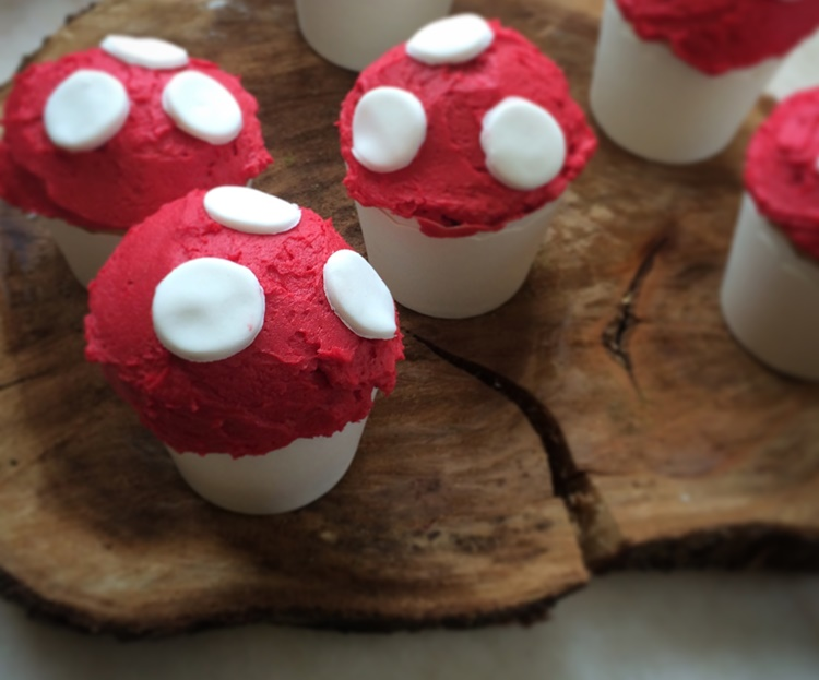 Woodland campfire party - toadstool cupcakes