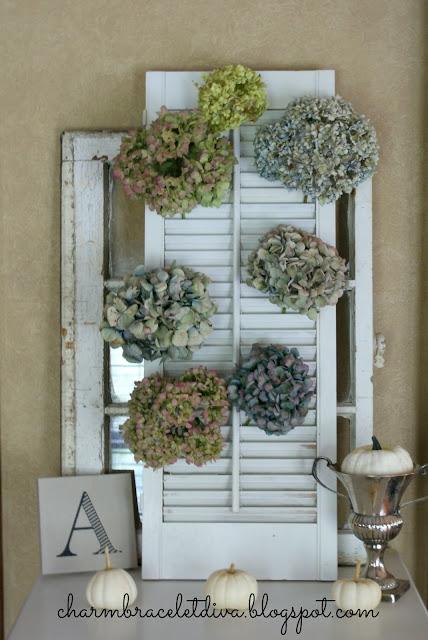 Dreid hydrangeas vintage shutter display