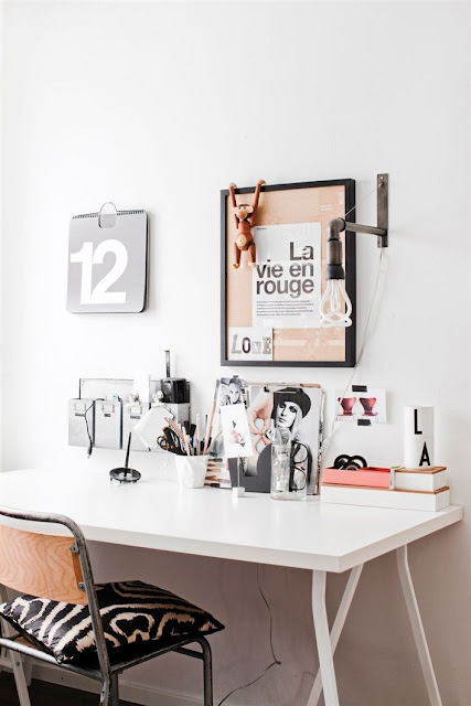 pink scandi office home