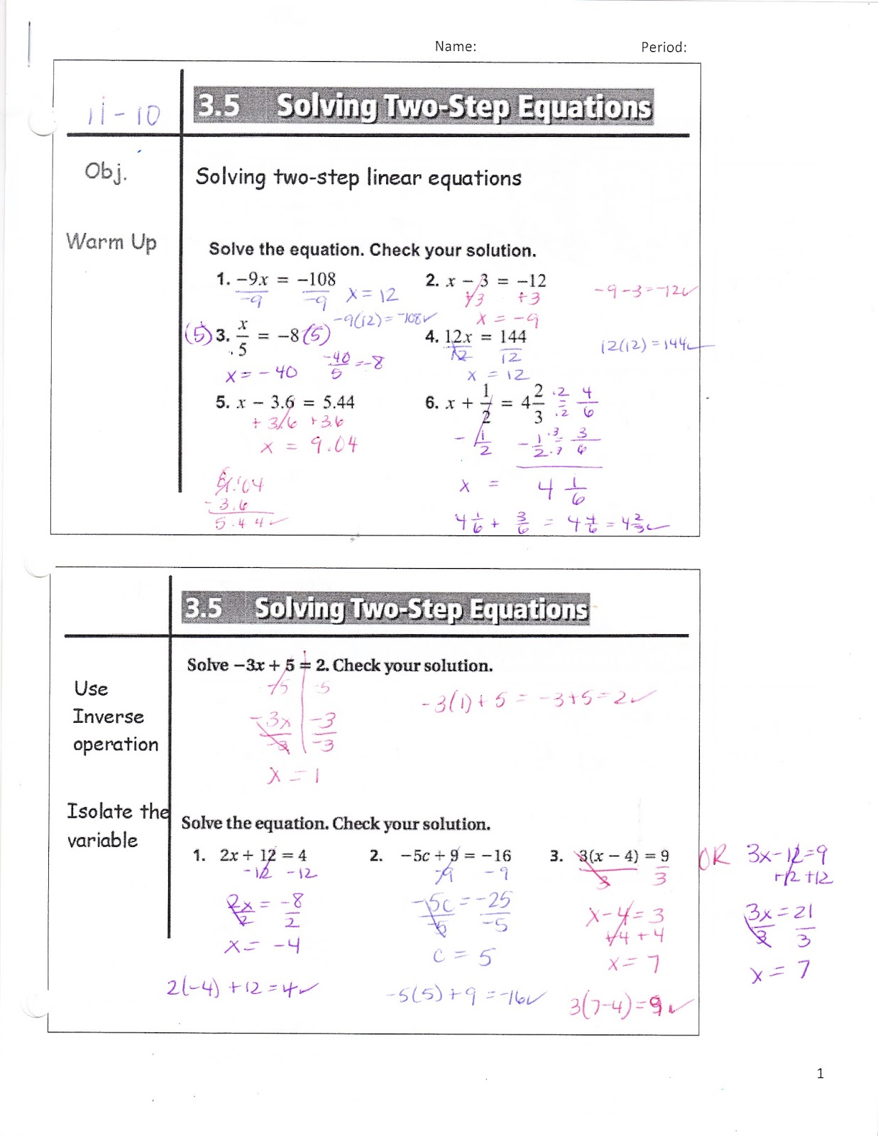 Ms Jean S Classroom Blog Math 7 3 5 Solving Two Step