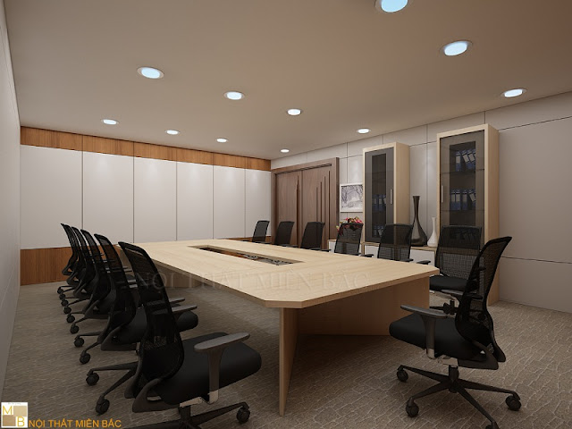 Thiết kế nội thất phòng họp đẹp sử dụng các sản phẩm nội thất đơn giản nhưng đường nét lại vô cùng tinh tế, chắc chắn