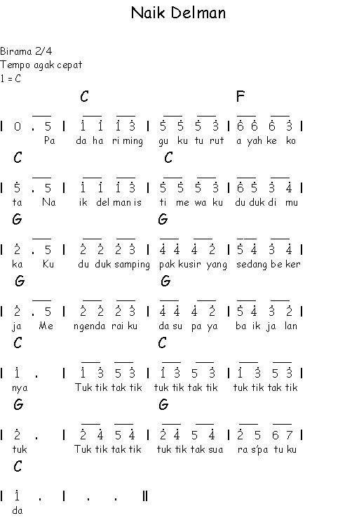 Lagu Anak Anak Naik Delman : delman, Notasi, Angka, Anak-anak, Delman, Sahabatku