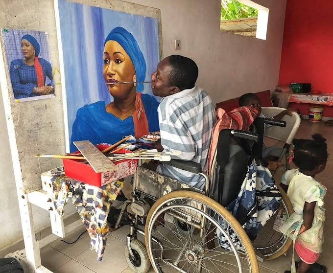 Meet Joel Acheampong, Ghana's Only Quadriplegic Artist Who Is Married With Four Kids And Runs An NGO That Supports Other Handicapped Artists