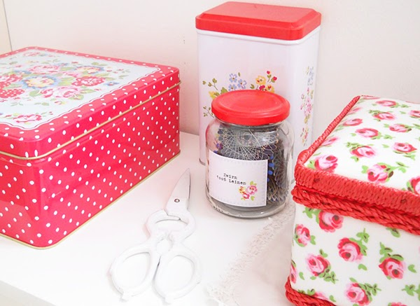 Cath Kidston sewing boxes, tins and jar labels