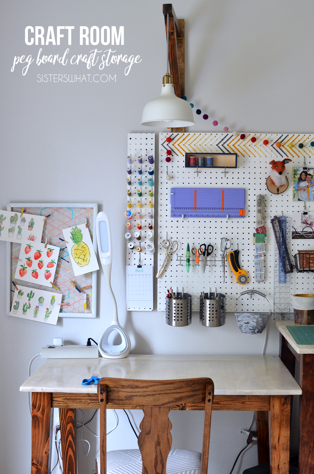 Pegboard for craft storage for craft room space