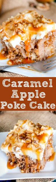 Caramel Apple Poke Cake (easy cake mix recipe)