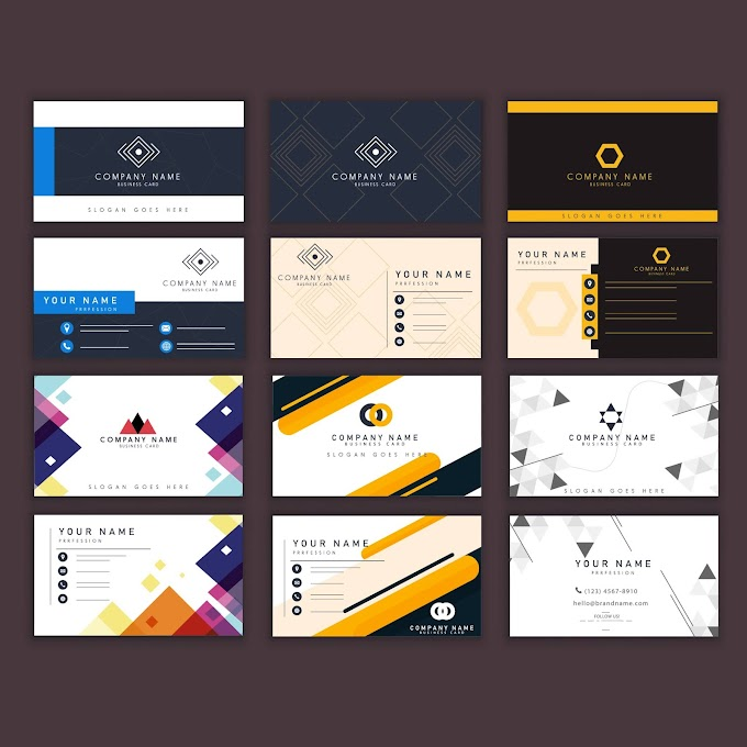 Business cards templates dark bright modern elegant decor business card printing Free vector (camcard)