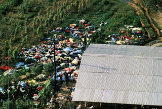 Aerial view of mass suicide at the Peoples Temple Cult at Jonestown, Guyana in 1978. Photograph: Bettmann/Bettmann Archive