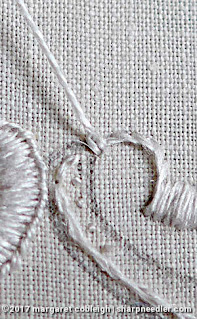 Society Silk Violets: starting the embroidered buttonhole outline with a chain stitch