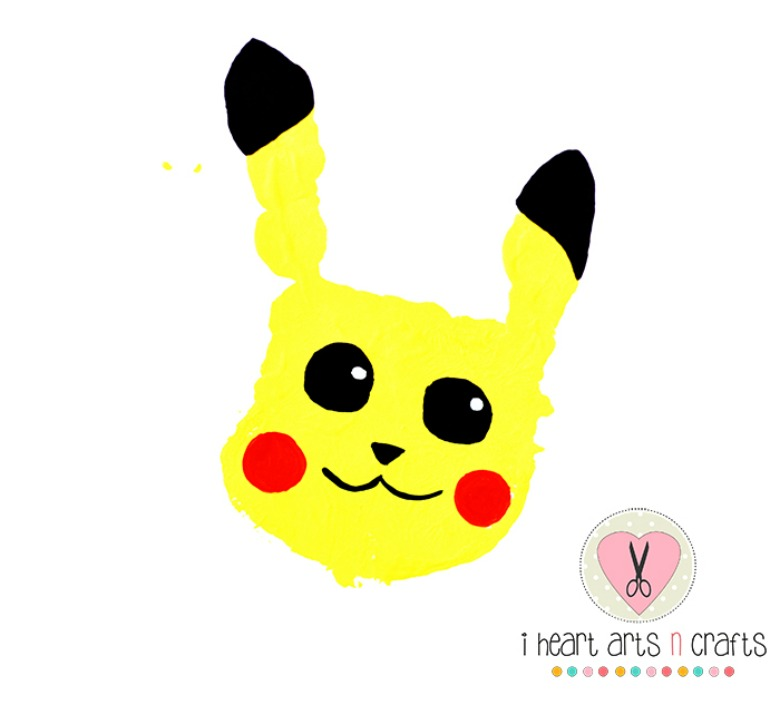 handprint pikachu - Pokemon crafts for kids