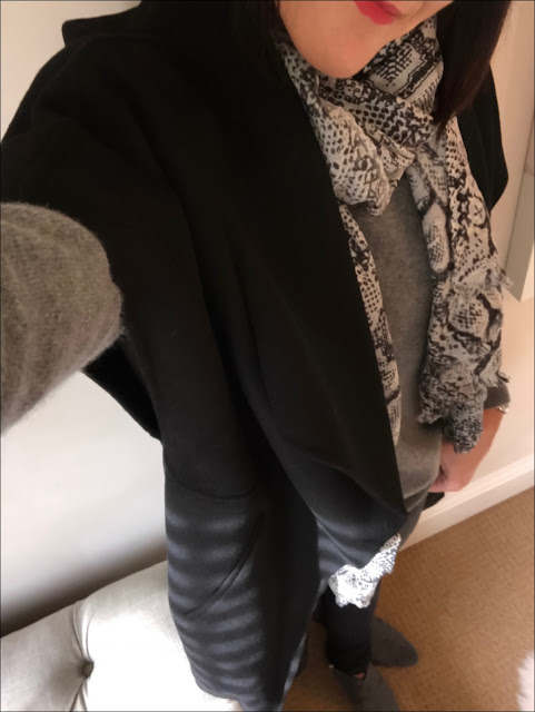 My Midlife Fashion, Zara sleeveless draped coat, zara crew neck cashmere jumper, hush snake cashmere shawl, hush harley jeans, hush thornton ankle boots