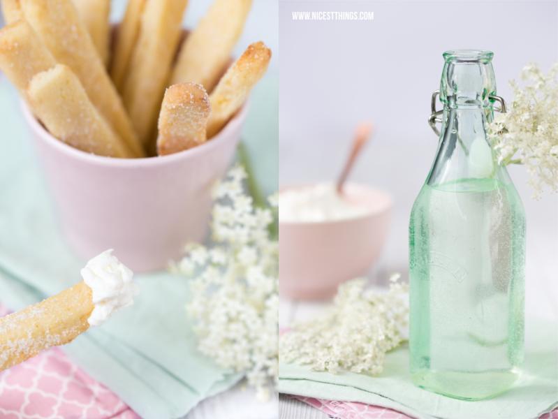 Cookie Fries Rezept mit Holunderblüten Sahne und Zitronenbrause
