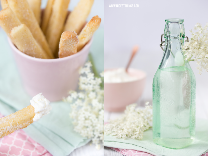Foodstyling in Pastell, grüne Bügelflasche, Holunderblüten, süße Pommes