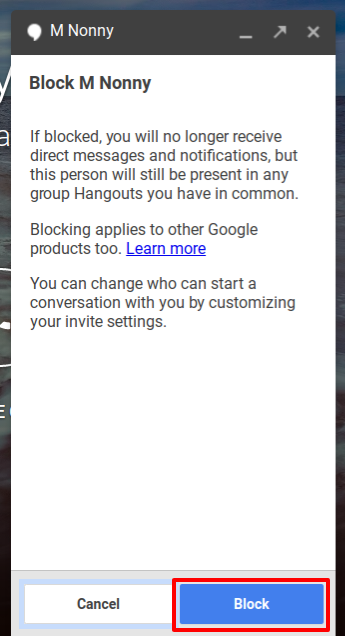 How to block (or unblock) someone in Google Hangouts