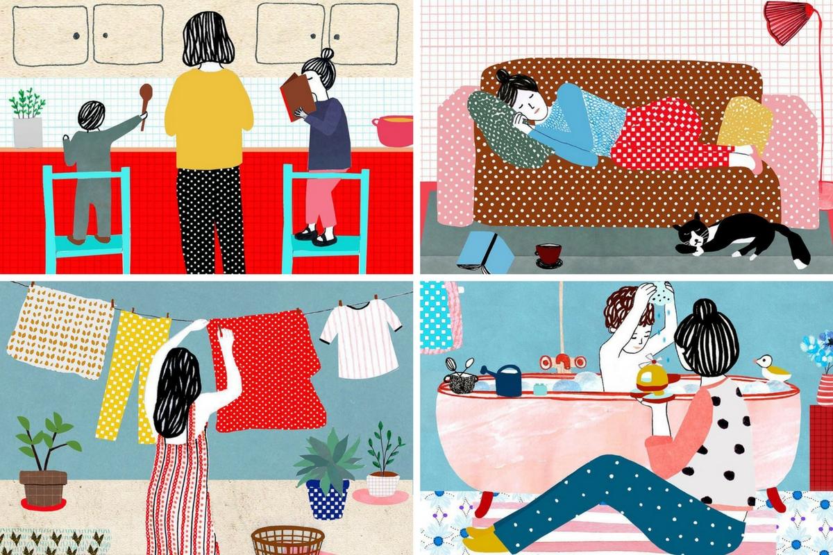 AtMums-Mãe-limpa-cozinha-adormece-dá-colo