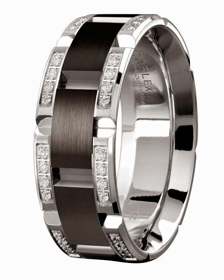 Mens Diamond Black Wedding Rings Tiffany 18k White Gold Carlex