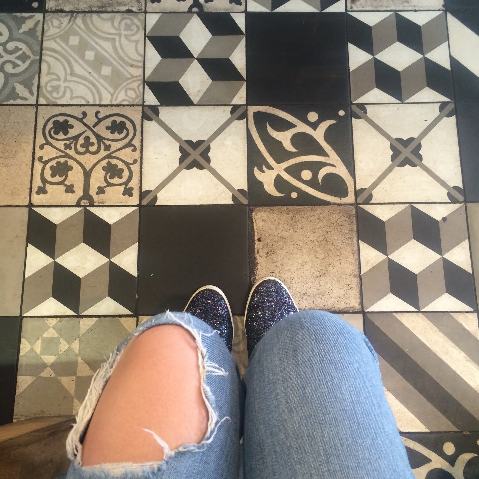 Mismatched tiled floor
