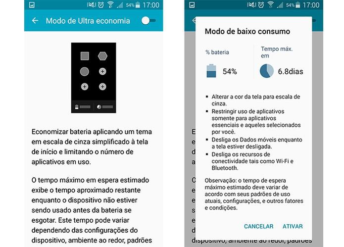 Economia de bateria no smartphone Galaxy da Samsung