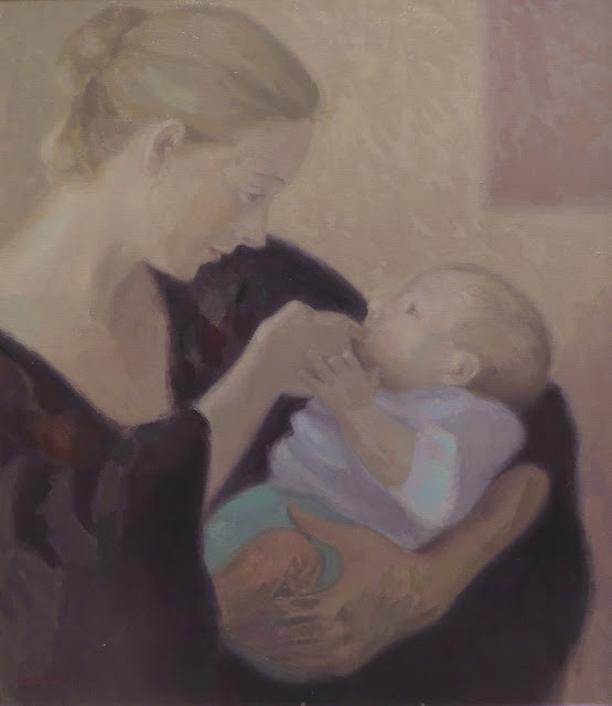 Cristina Alonso madre bebé pintura impresionista maternidad